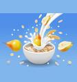 instant oatmeal and pear in milk yogurt splash vector image vector image