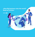isometric big boss chooses small people vector image vector image