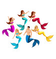 isometry set of mermaids in different poses for vector image vector image