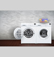 laundry room of brick wall and washing machine vector image vector image