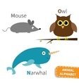 Letter M N O Mouse Narwhal Owl Zoo alphabet vector image