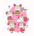 lovely strawberry girl with 5 different actions vector image vector image
