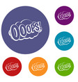 ooops comic book explosion icons set vector image vector image