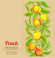 peach branches pattern on color background vector image vector image