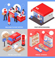 post 2x2 isometric design concept vector image vector image