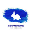 rabbit icon - blue watercolor background vector image