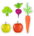 ripe fruits and vegetables stickers set vector image