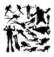 scuba diver silhouettes vector image
