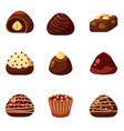 set of colorful chocolate desserts and candies vector image
