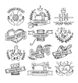 Set of hand drawn logos for sewing workshop vector image