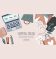 shopping online banner poster laptop package vector image vector image