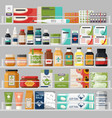showcase with shelves at drugstore with pills tea vector image