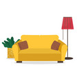 sofa and cushions plant and lamp interior design vector image vector image