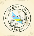Stamp with map flag of Aruba vector image vector image