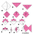 step instructions how to make origami a goldfish vector image vector image