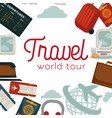 travel and airplane world trip poster flat vector image vector image
