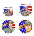 us flag salute soldier pop art avatar icon vector image vector image