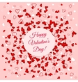 Valentines Day banner over scattered red and pink vector image vector image