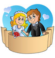 wedding couple with banner vector image