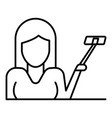 woman up selfie stick icon outline style vector image