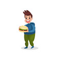 young fat man holding giant burger harmful habit vector image vector image