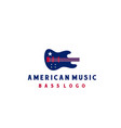 bass with american flag for music instrument logo vector image vector image