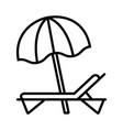 beach umbrella and sun lounger line icon vector image