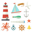 big set of flat cartoon style nautical elements vector image vector image