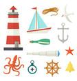 big set of flat cartoon style nautical elements vector image vector image