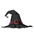 Black creepy witch hat with violet belt vector image
