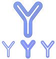Blue line y logo design set vector image vector image