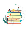 books set with people reading and taking info vector image