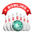 bowling game club isolated icon skittles and ball vector image vector image