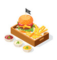 burger serving isometric composition vector image vector image