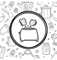cartoon toaster with toasts on kitchenware vector image vector image