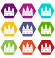 castle tower icon set color hexahedron vector image vector image