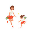 cheerful mom and her daughter playing ping pong vector image vector image