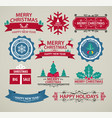 christmas decoration set calligraphy vector image