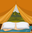 colorful background interior camping tent with pad vector image