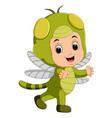 cute boy cartoon wearing dragonfly costume vector image vector image