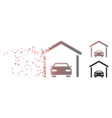 dissolved pixel halftone car garage icon vector image