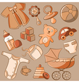 doodle baby icon set vintage style vector image vector image