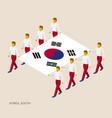 eight people hold big flag of south korea vector image