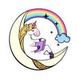 fantasy unicorn reading book on the moon vector image vector image