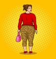 fat girl in leopard leggings pop art vector image vector image