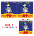 find five differences children educational game vector image vector image