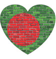 flag of bangladesh on a brick wall in heart shape vector image vector image