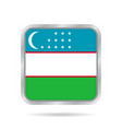 flag of uzbekistan metallic gray square button vector image vector image