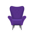 flat icon of cozy purple armchair front vector image vector image