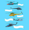 flying helicopters with banners advertizing vector image vector image